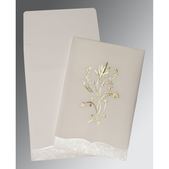 OFF-WHITE FLORAL THEMED - FOIL STAMPED WEDDING CARD : CC-1495 - IndianWeddingCards