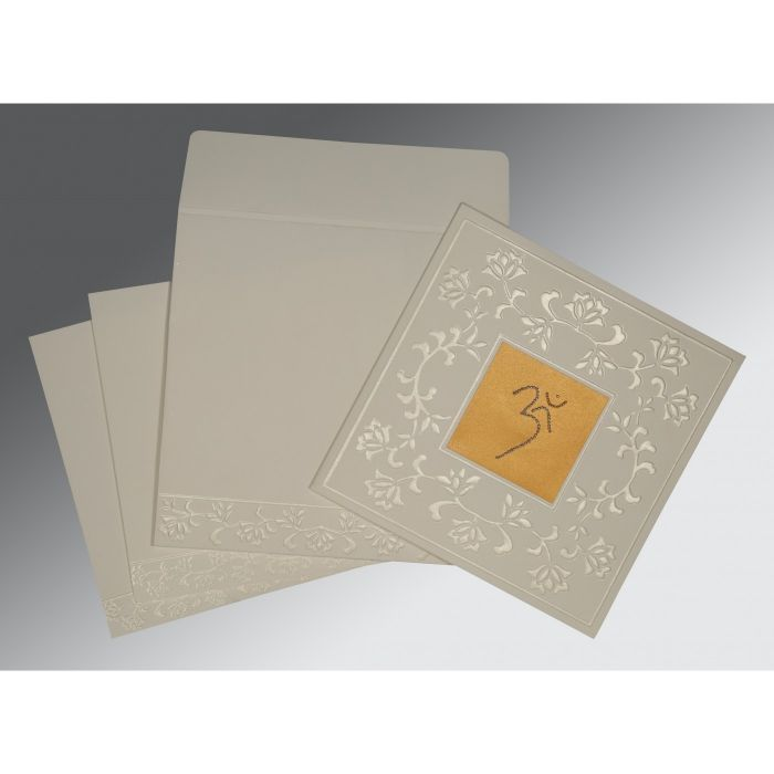 OFF-WHITE MATTE EMBOSSED WEDDING INVITATION : CW-2238 - IndianWeddingCards