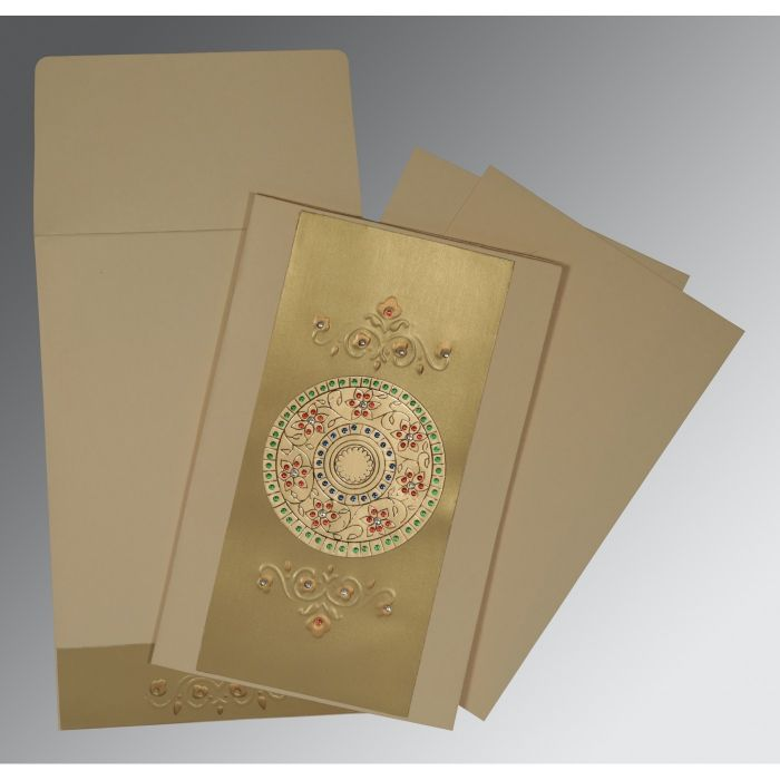 BEIGE GOLD MATTE FOIL STAMPED WEDDING CARD : CD-1407 - IndianWeddingCards