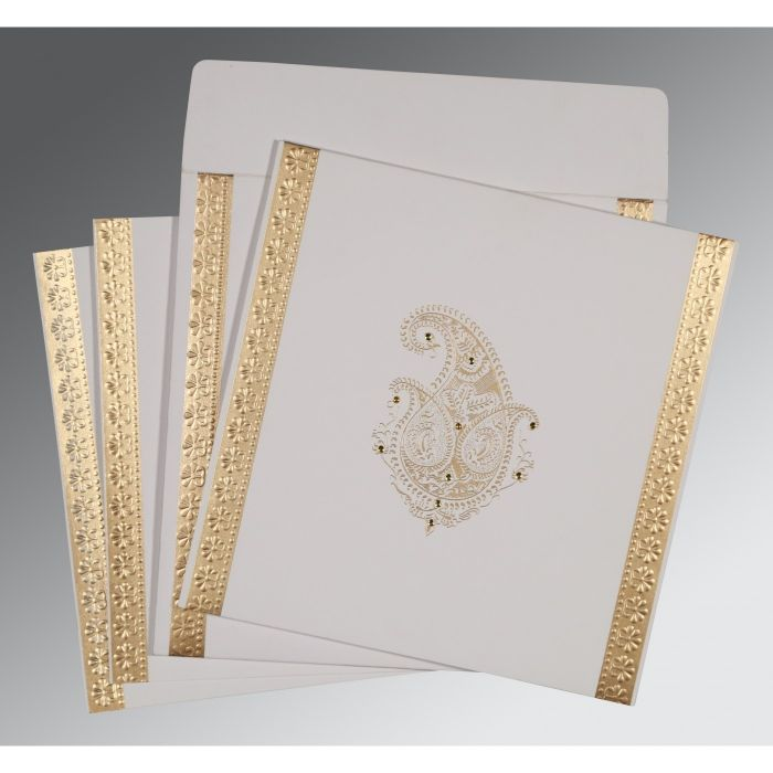 OFF-WHITE MATTE EMBOSSED WEDDING INVITATION : CW-8231J - IndianWeddingCards