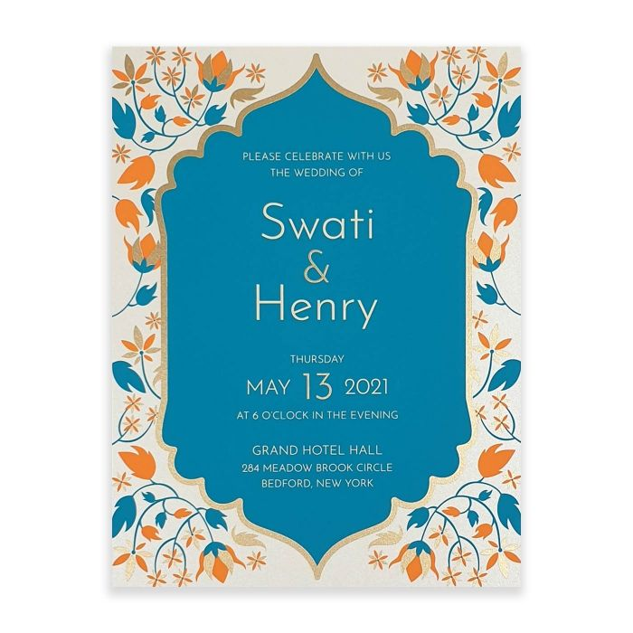 IVORY SHIMMERY FLORAL THEMED - SCREEN PRINTED WEDDING INVITATION : C-FAIRY_TALE_LEAVES - IndianWeddingCards
