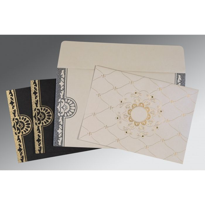 Ivory Shimmery Floral Themed - Screen Printed Wedding Card : CIN-8227A - IndianWeddingCards