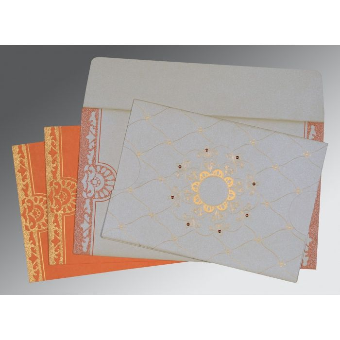 Ivory Shimmery Floral Themed - Screen Printed Wedding Card : CS-8227N - IndianWeddingCards