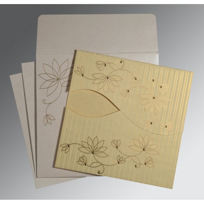 Ivory Shimmery Floral Themed - Screen Printed Wedding Invitation : CW-8251H - IndianWeddingCards