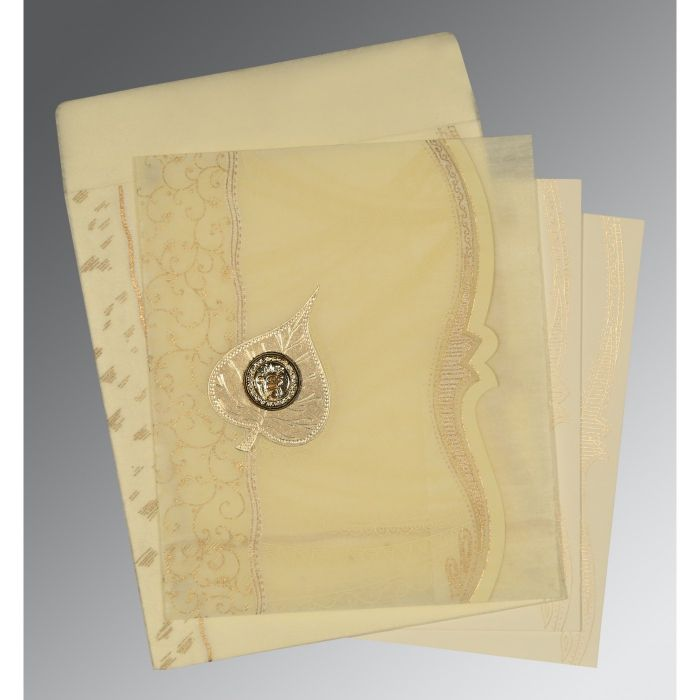BEIGE SHIMMERY EMBOSSED WEDDING CARD : CS-8210C - IndianWeddingCards