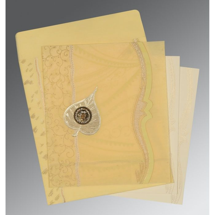 MUSTARD YELLOW SHIMMERY EMBOSSED WEDDING CARD : CS-8210G - IndianWeddingCards