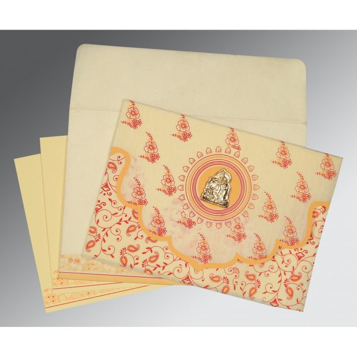 IVORY WOOLY SCREEN PRINTED WEDDING INVITATION : CG-8207A - IndianWeddingCards