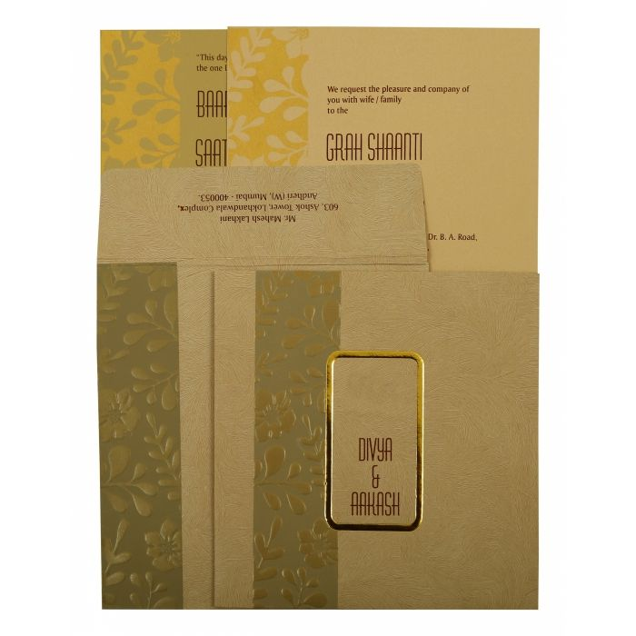 KHAKI MATTE FLORAL THEMED - FOIL STAMPED WEDDING INVITATION : CD-1897 - IndianWeddingCards