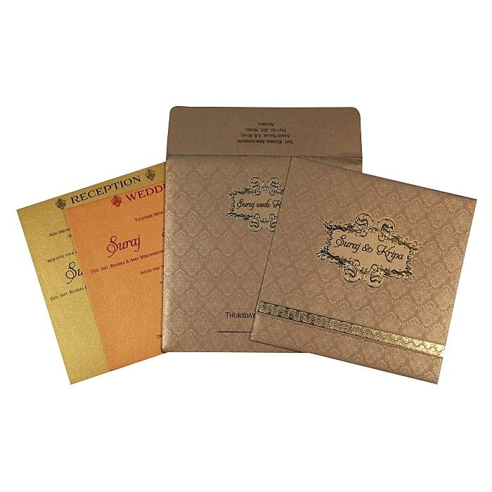 Khaki Shimmery Foil Stamped Wedding Card : CI-1713 - IndianWeddingCards