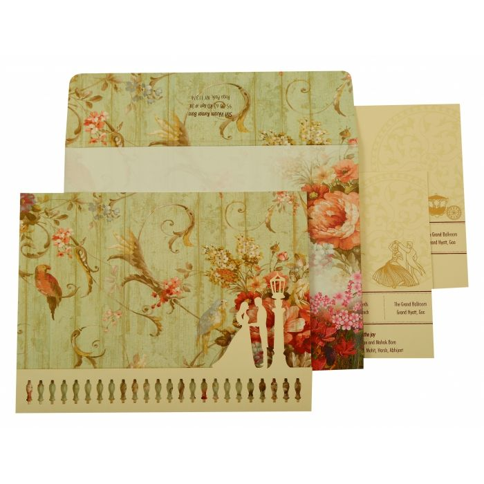 OFF-WHITE MATTE FLORAL THEMED - OFFSET PRINTED WEDDING INVITATION : CC-1932 - IndianWeddingCards