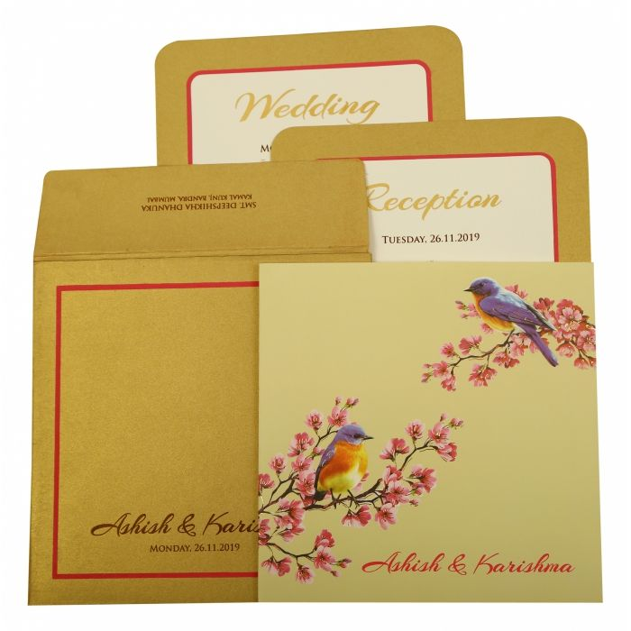 OFF-WHITE MATTE FOIL STAMPED WEDDING INVITATION : CI-1903 - IndianWeddingCards