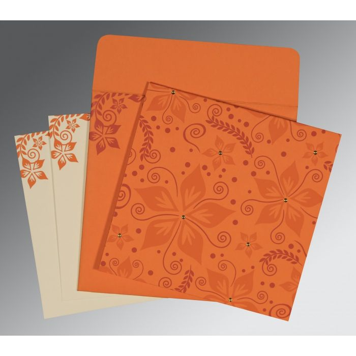BURNT ORANGE MATTE FLORAL THEMED - SCREEN PRINTED WEDDING INVITATION : CC-8240K - IndianWeddingCards