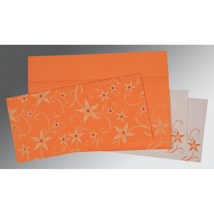 Orange Matte Floral Themed - Screen Printed Wedding Invitation : CW-8225L - IndianWeddingCards