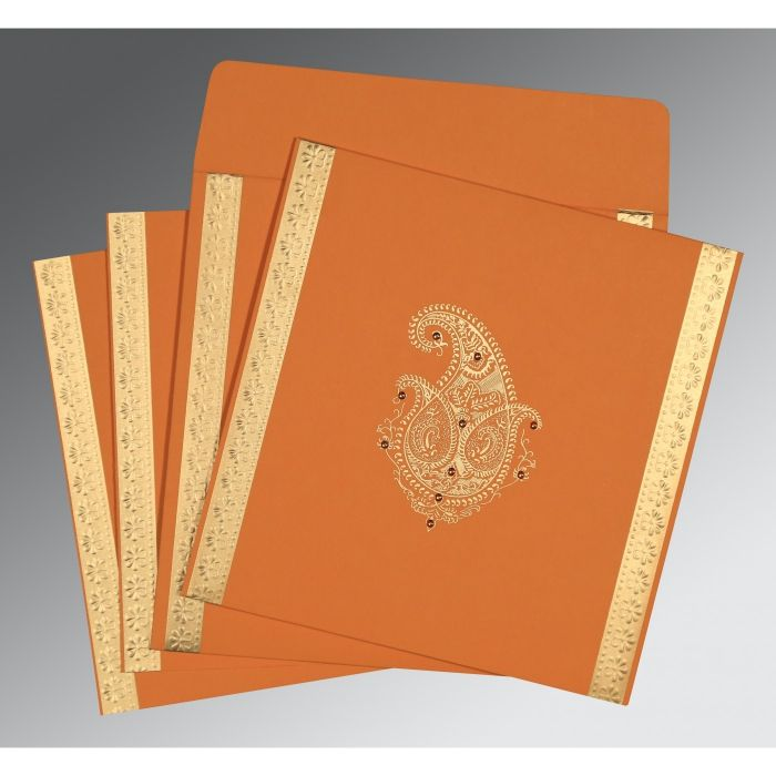 ORANGE MATTE EMBOSSED WEDDING INVITATION : CW-8231N - IndianWeddingCards
