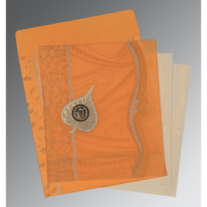 Orange Wooly Embossed Wedding Card : CS-8210L - IndianWeddingCards