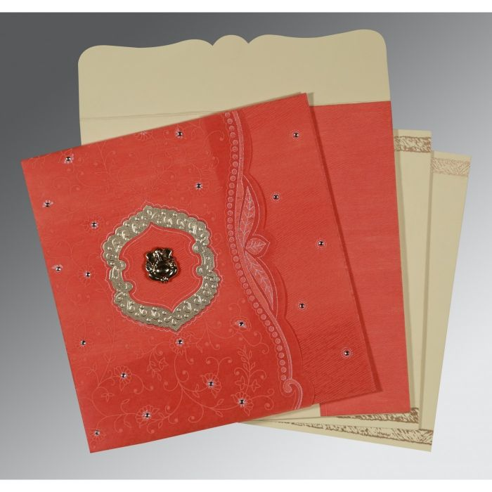 SWEET NECTAR SHIMMERY FLORAL THEMED - EMBOSSED WEDDING CARD : CIN-8209M - IndianWeddingCards