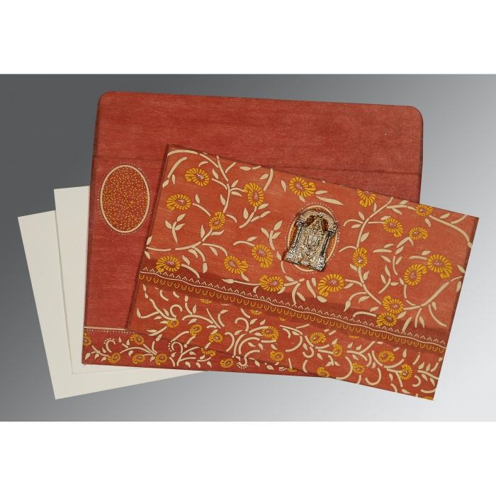 BURNT ORANGE WOOLY FLORAL THEMED - GLITTER WEDDING CARD : CSO-8206G - IndianWeddingCards