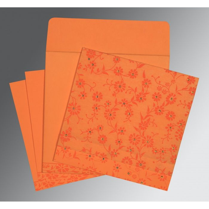 Orange Wooly Floral Themed - Screen Printed Wedding Card : CIN-8222C - IndianWeddingCards