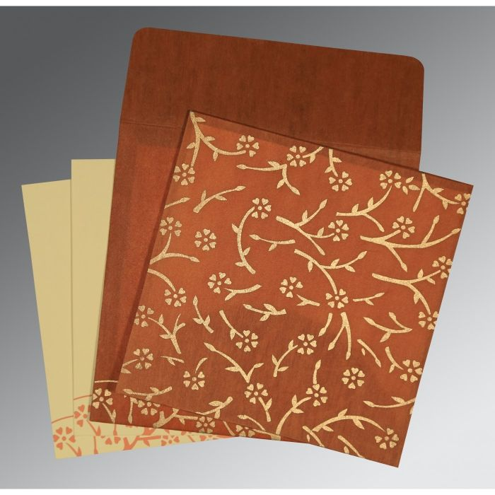 BURNT ORANGE WOOLY FLORAL THEMED - SCREEN PRINTED WEDDING INVITATION : CS-8216E - IndianWeddingCards
