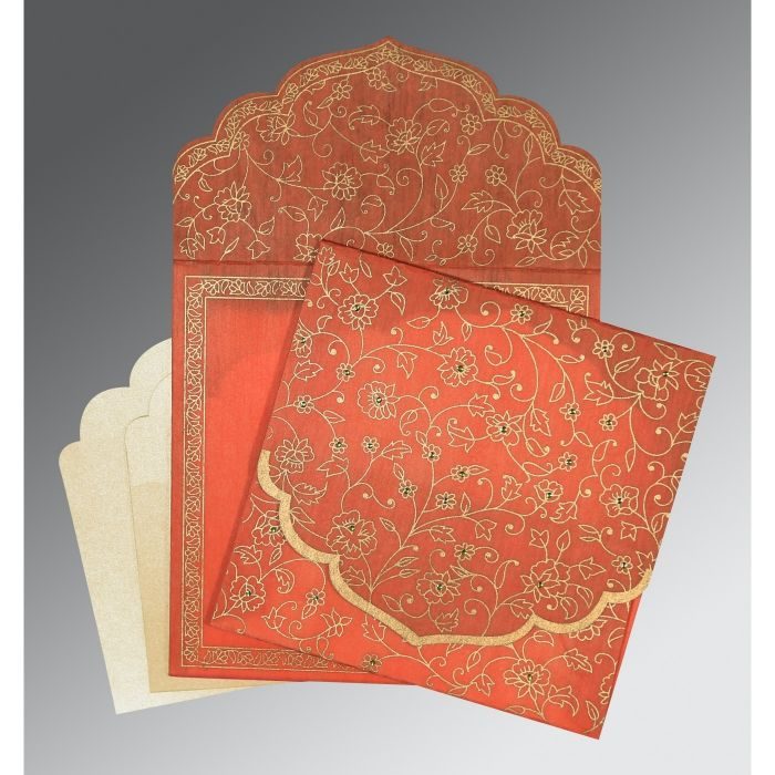 CORAL WOOLY FLORAL THEMED - SCREEN PRINTED WEDDING INVITATION : CW-8211F - IndianWeddingCards