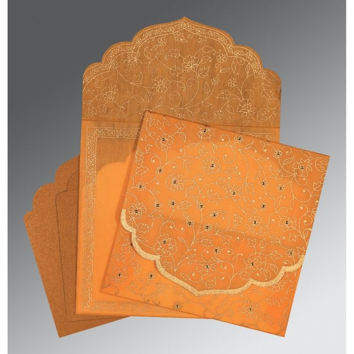 LIGHT ORANGE WOOLY FLORAL THEMED - SCREEN PRINTED WEDDING INVITATION : CW-8211L - IndianWeddingCards