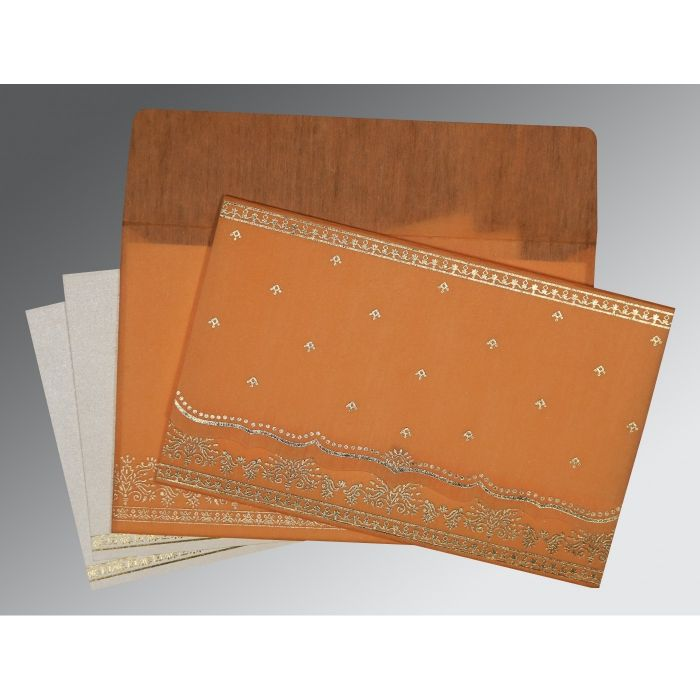 Orange Wooly Foil Stamped Wedding Invitation : CW-8241H - IndianWeddingCards