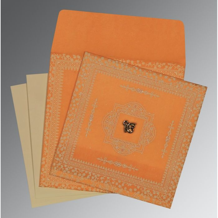 Orange Wooly Glitter Wedding Card : CS-8205H - IndianWeddingCards