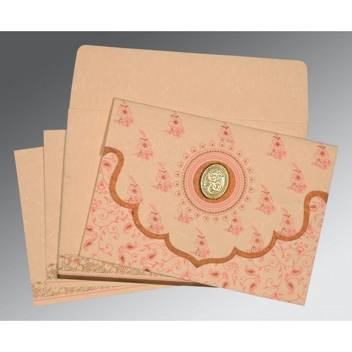 Pink Handmade Silk Screen Printed Wedding Invitation : CI-8207C - IndianWeddingCards