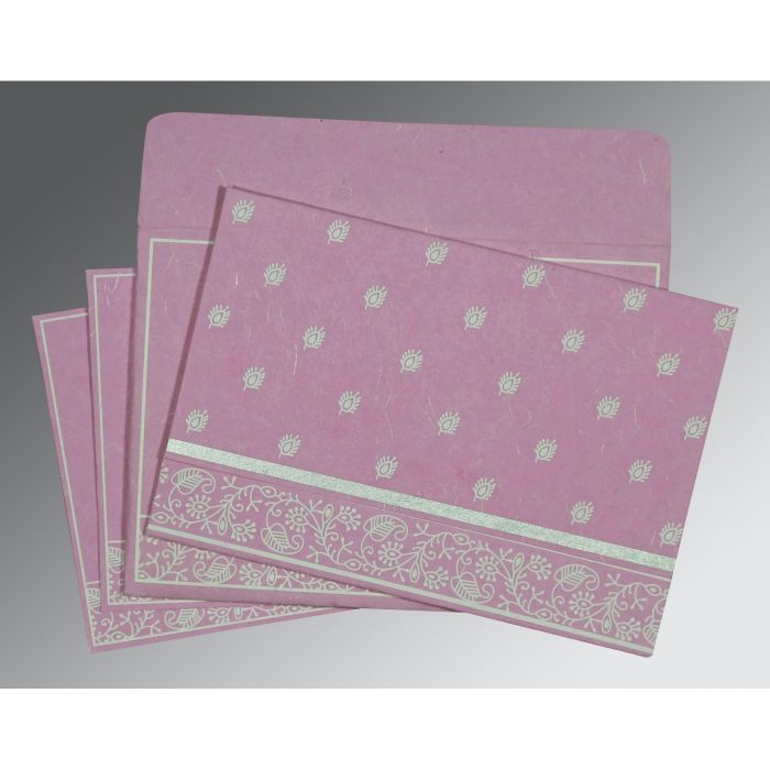 Pink Handmade Silk Screen Printed Wedding Card : CS-8215J - IndianWeddingCards