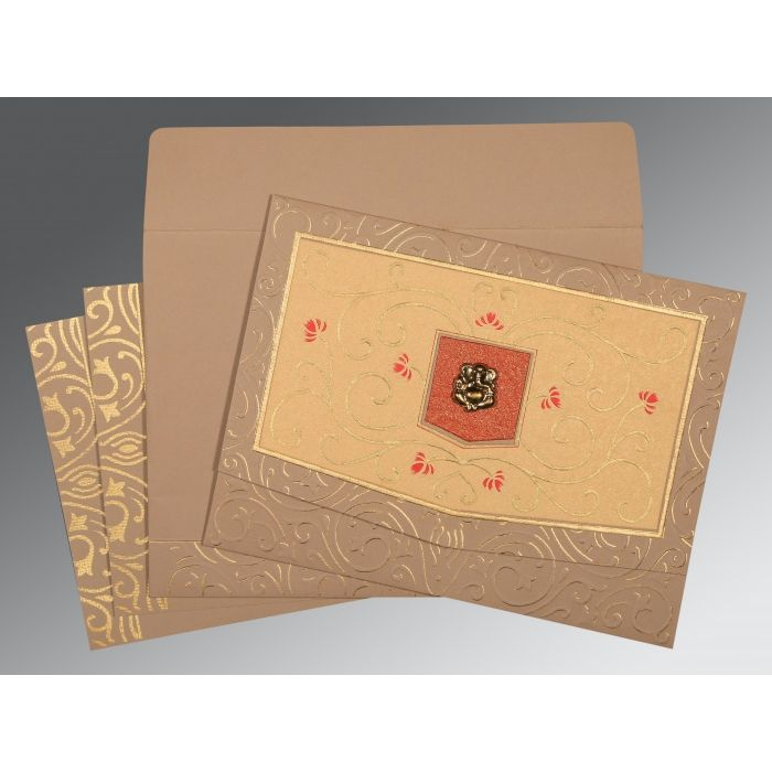 PALE TAUPE HANDMADE SHIMMER EMBOSSED WEDDING CARD : CW-1394 - IndianWeddingCards