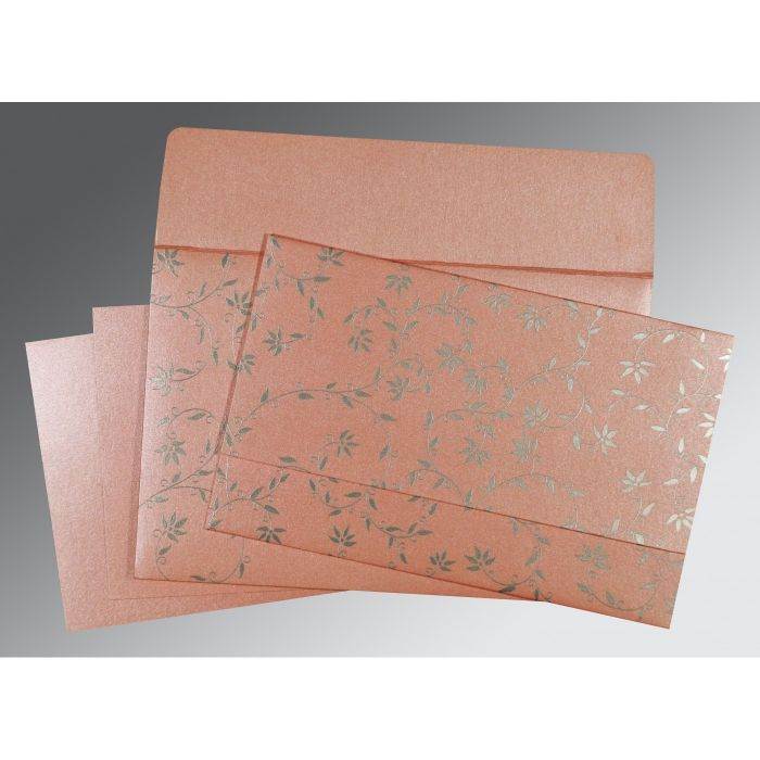 BABY PINK SHIMMERY FLORAL THEMED - SCREEN PRINTED WEDDING INVITATION : CC-8226B - IndianWeddingCards
