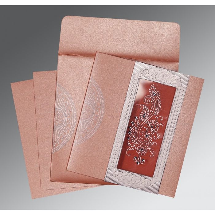 Pink Shimmery Paisley Themed - Foil Stamped Wedding Invitation : CI-8230A - IndianWeddingCards