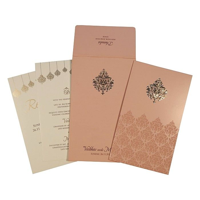 BABY PINK SHIMMERY DAMASK THEMED - SCREEN PRINTED WEDDING CARD : CC-1746 - IndianWeddingCards