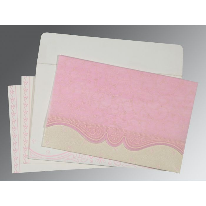 PINK MATTE EMBOSSED WEDDING INVITATION : CS-8221M - IndianWeddingCards