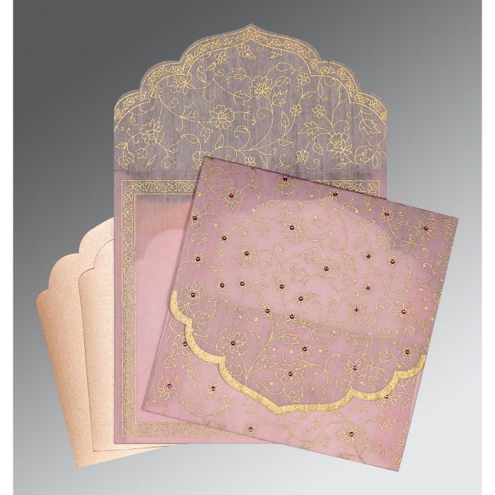 BABY PINK WOOLY FLORAL THEMED - SCREEN PRINTED WEDDING INVITATION : CSO-8211D - IndianWeddingCards