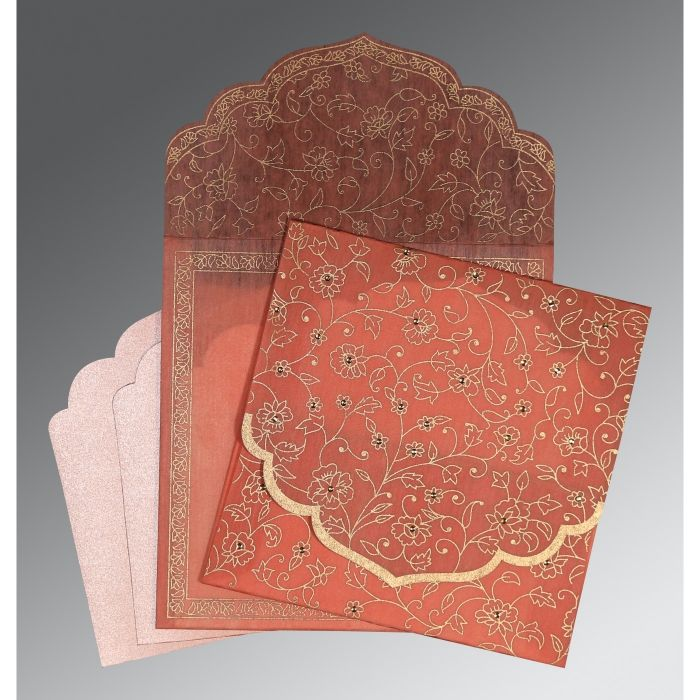 SALMON WOOLY FLORAL THEMED - SCREEN PRINTED WEDDING INVITATION : CSO-8211J - IndianWeddingCards