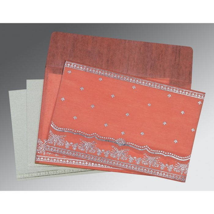 CORAL WOOLY FOIL STAMPED WEDDING INVITATION : CG-8241G - IndianWeddingCards
