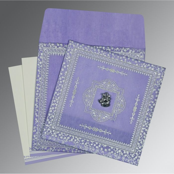 LAVENDER PURPLE WOOLY GLITTER WEDDING CARD : CC-8205F - IndianWeddingCards