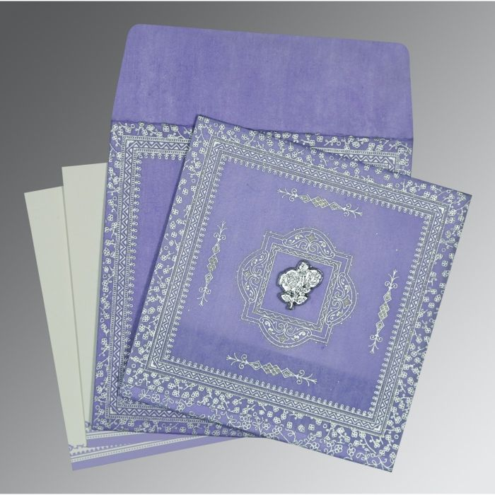 Purple Wooly Glitter Wedding Card : CI-8205F - IndianWeddingCards