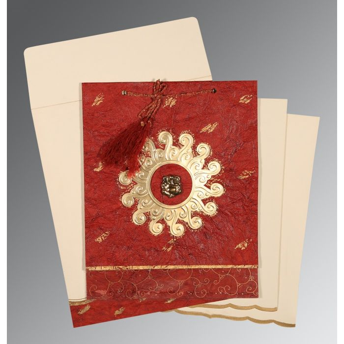Red Handmade Cotton Embossed Wedding Invitation : CIN-1264 - IndianWeddingCards
