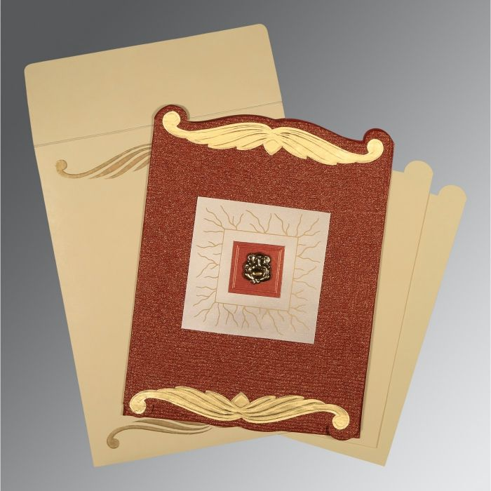 BRICK RED GOLD SHIMMERY EMBOSSED WEDDING CARD : CW-1412 - IndianWeddingCards