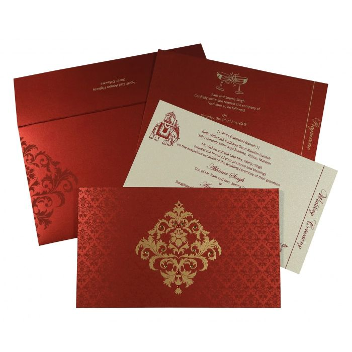 MODERATE RED SHIMMERY DAMASK THEMED - SCREEN PRINTED WEDDING CARD : CSO-8257H - IndianWeddingCards