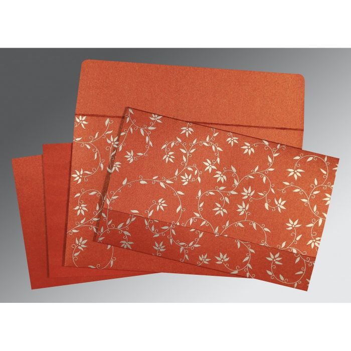 BRICK RED SHIMMERY FLORAL THEMED - SCREEN PRINTED WEDDING INVITATION : CI-8226I - IndianWeddingCards
