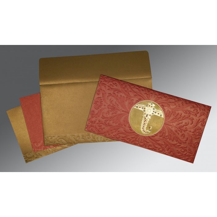 Red Shimmery Foil Stamped Wedding Card : CW-1463 - IndianWeddingCards