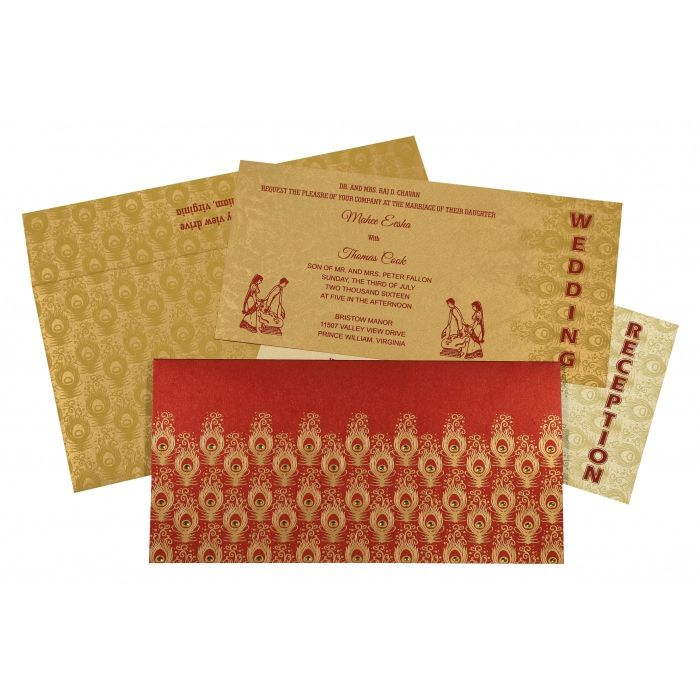 STRONG RED SHIMMERY PEACOCK THEMED - SCREEN PRINTED WEDDING INVITATION : CIN-8256C - IndianWeddingCards