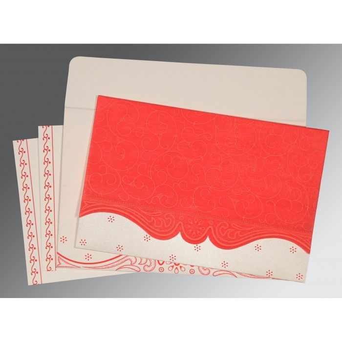 Red Wooly Embossed Wedding Invitation : CW-8221J - IndianWeddingCards