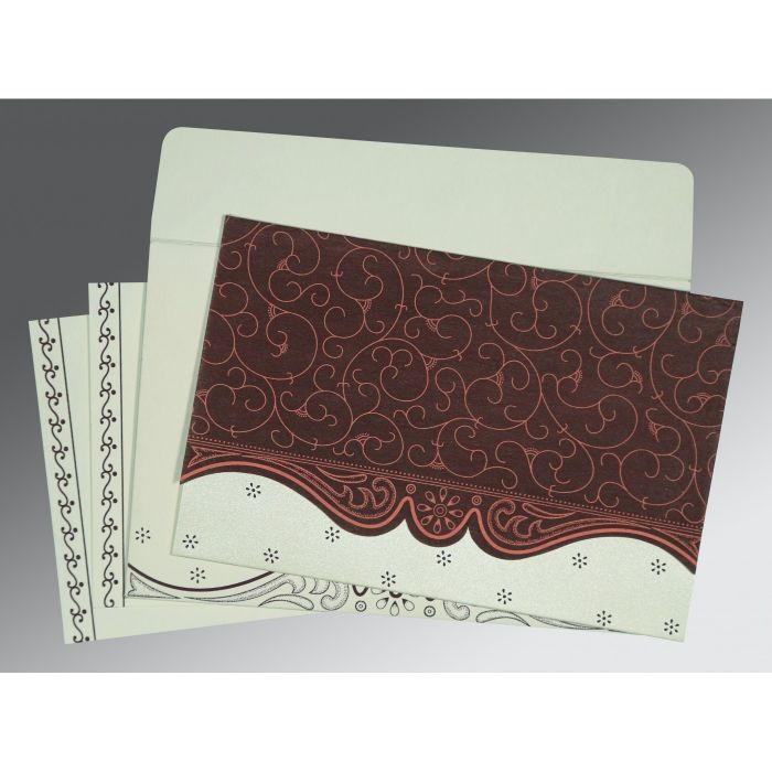 Red Wooly Embossed Wedding Invitation : CW-8221P - IndianWeddingCards