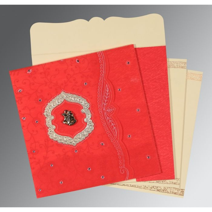 SCARLET SHIMMERY FLORAL THEMED - EMBOSSED WEDDING CARD : CC-8209I - IndianWeddingCards