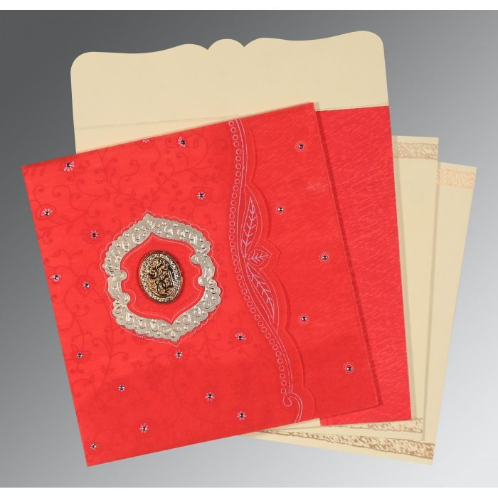SCARLET SHIMMERY FLORAL THEMED - EMBOSSED WEDDING CARD : CI-8209I - IndianWeddingCards