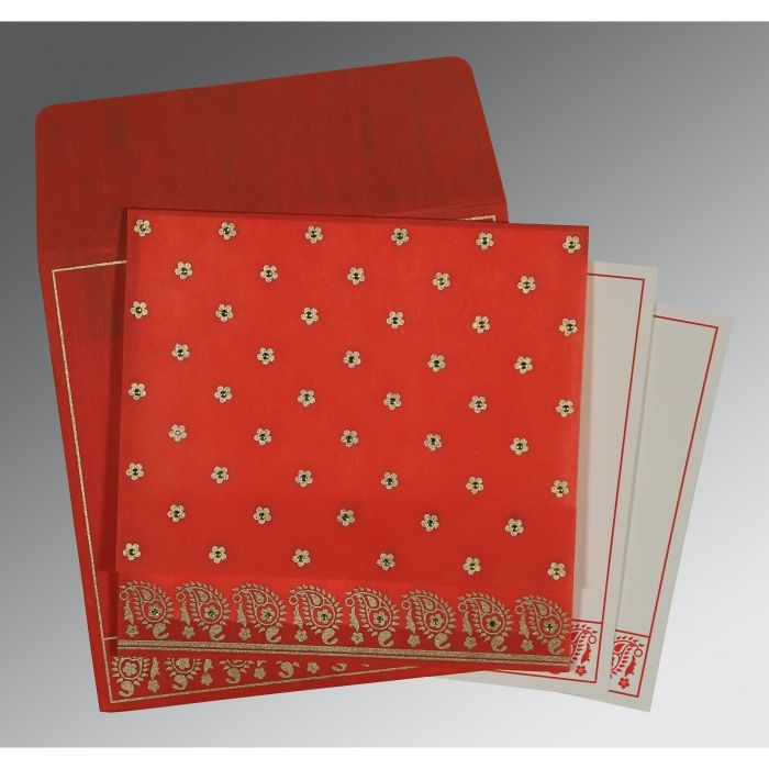 SCARLET WOOLY FLORAL THEMED - SCREEN PRINTED WEDDING CARD : CC-8218M - IndianWeddingCards